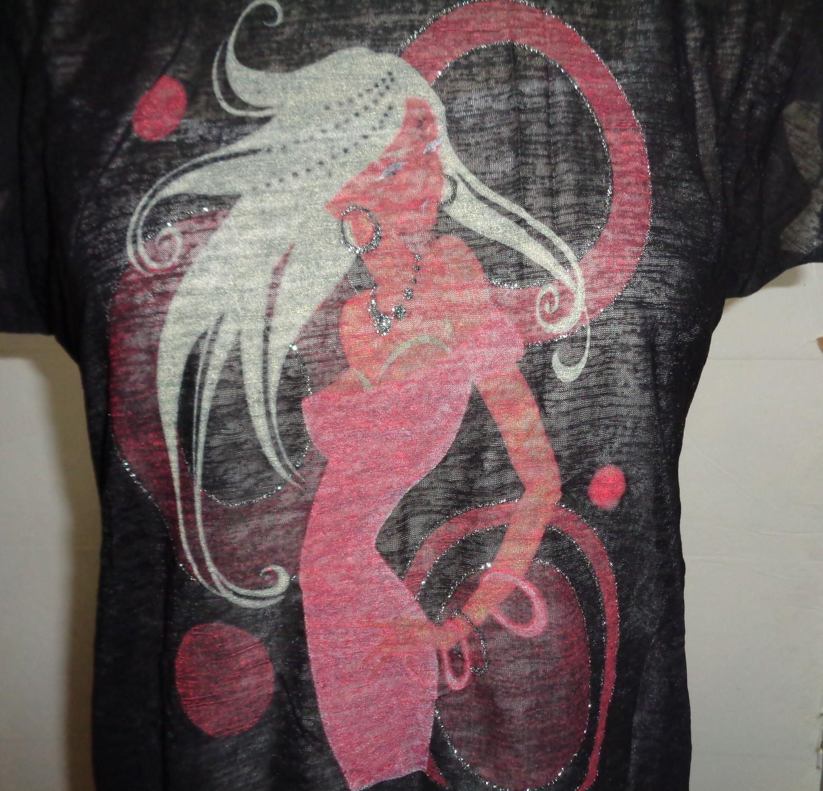 Uptown Girl Two Piece T-Shirt Tank & Sheer Over NWT Women's SZ Medium Black