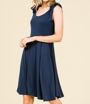 Navy Swing Dress, Navy Circle Skirt Dress, Sleeveless Dress with Empire Waist image 4
