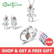 Santuzza Silver Lizard Jewelry Set Champagne CZ Stones Ring Earrings Pen... - $38.22