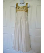 Vintage 1960s Formal Pageant Dress XS Ivory Gold Pearls Beads Sequins Em... - $149.99