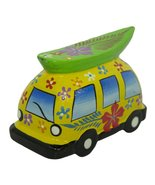 Hand Painted Wooden Surfer Van Figurine (yellow) - $5.89