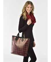 Woman's Faux Leather Tote Choice of Red Plaid or Black w White Dogs image 3