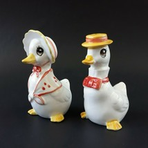 Vintage Lefton Anthropomorphic Ducks Salt & Pepper Shakers Hats Tie FACT... - $12.99