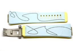 NIKE MERGE UPLIFT BLUE YELLOW REPLACEMENT RUBBER WATCH BAND WC0027-422 - $14.84