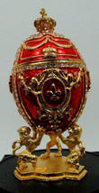 Russian Replica RED Enameled Faberge egg with a Golden Carriage displayed  - $178.15