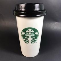 Starbucks Double Wall Siren Logo Travel Mug 2014 Lid White Coffee - $14.99