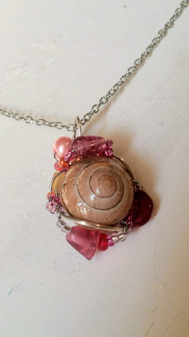 Delicate Enchantments Necklace: Natural pink snail shell with pink beadwork