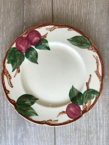 """4 Vintage California Franciscan Hand Painted Apple 8"""" Salad Luncheon Plates"""