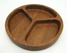 Mid Century Modern Dolphin Teakwood Teak Wood Tri Divided Bowl Dish Vintage - $24.70