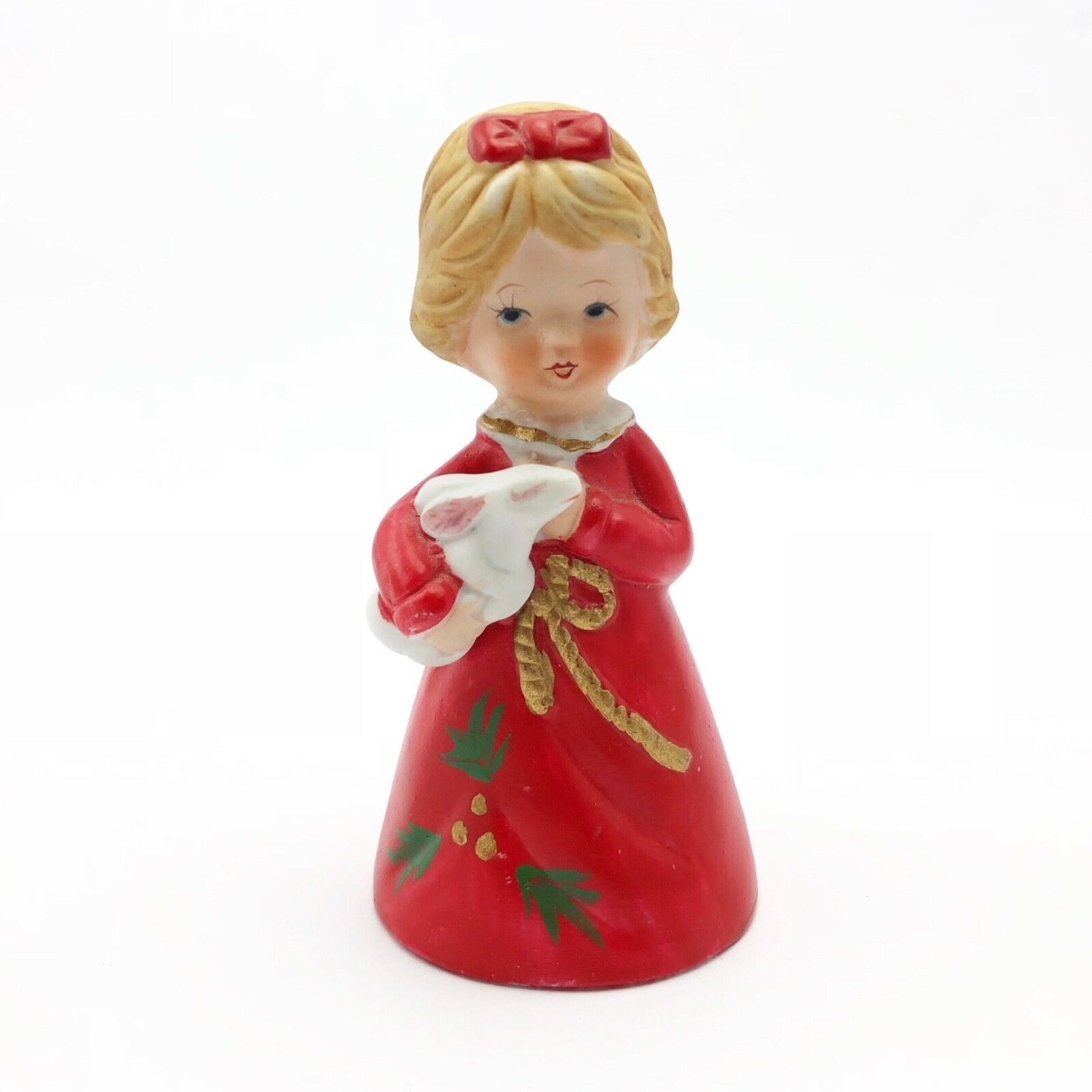 Vintage Christmas Bell Enesco Little Girl in Red Gown and Bunny Rabbit - $19.71
