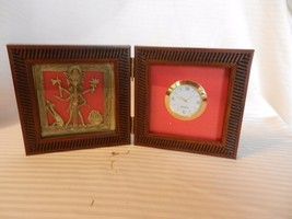Unique Quartz Clock in Folding Wood Case With Asian God, Cat, Fruit - $37.12