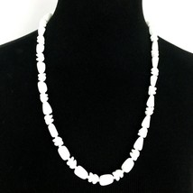 """MILK GLASS bead vintage necklace - opaque white mixed shape strand 25.5"""" - $19.60"""