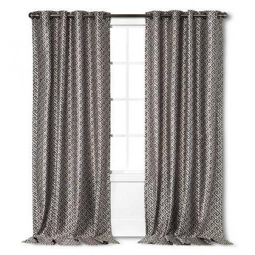 "Threshold Formal Look Greek Key Grommet Window Panel 54""x84"" Gray - $18.99"