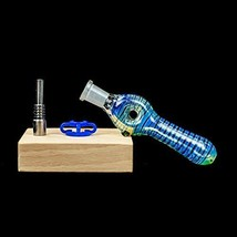 10mm Mini Handmade Glass Honey Straw with Titanium Tip and the (Blue Donut) - $21.13