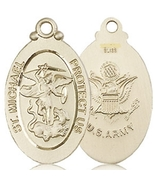 ARMY MEDAL - 14KT Gold St. Michael the Archangel Medal no chain - 4145 - $1,399.99