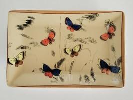 Butterfly Garden Plate Ceramic Art Dish RectangleTrinket Dresser Dish - $9.99