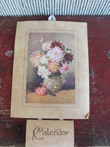 1951 calendar, old, paper with flower bouquet, England - $21.09