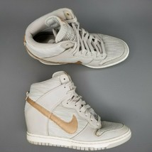 Nike Dunk Sky High Wedge Shoes Womens Size 9 Leather Hidden Light Bone W... - $65.44