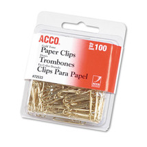 """Paper Clips, Metal Wire, #2, 1 1/8"""", Gold Tone, 100/Box - $17.70"""