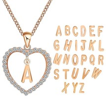 2018 Simple Gold Color Love Heart Necklaces&Pendants Double Rhinestone C... - $9.55