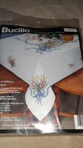 """Bucilla Stamped Cross Stitch Tablecloth 41463~Tulips & Ribbons (1996)~52"""" x 70"""" - $44.10"""