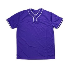 Alleson Athletic 2 Button Henley Baseball Jersey Purple White Piping You... - $9.99