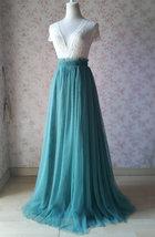 MISTY GREEN Full Long Tulle Skirt Misty Green Floor Length Bridesmaid Skirt image 4