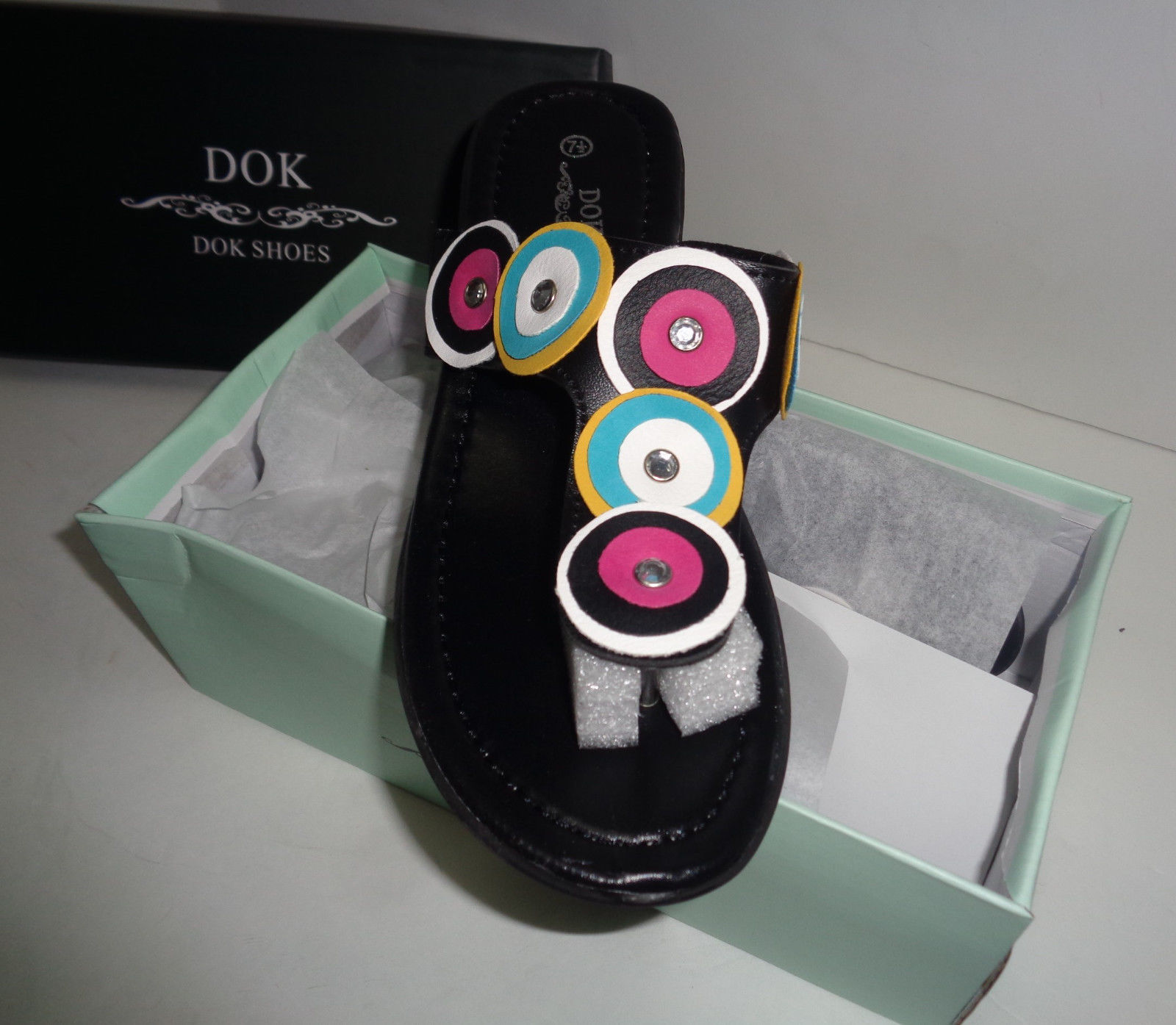 Women's Black Mule Sandals MultiColor Accent DOK NIB Sz 6, 7.5 Available