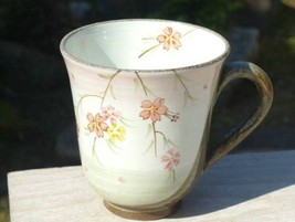Japanese Mug tea coffee soup cup Kyo Kiyomizu yaki ware Cherry Sakura Ko... - $88.48