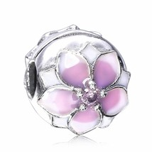 925 Sterling Silver Spring Magnolia Bloom Clip Charm Bead For European B... - €17,08 EUR