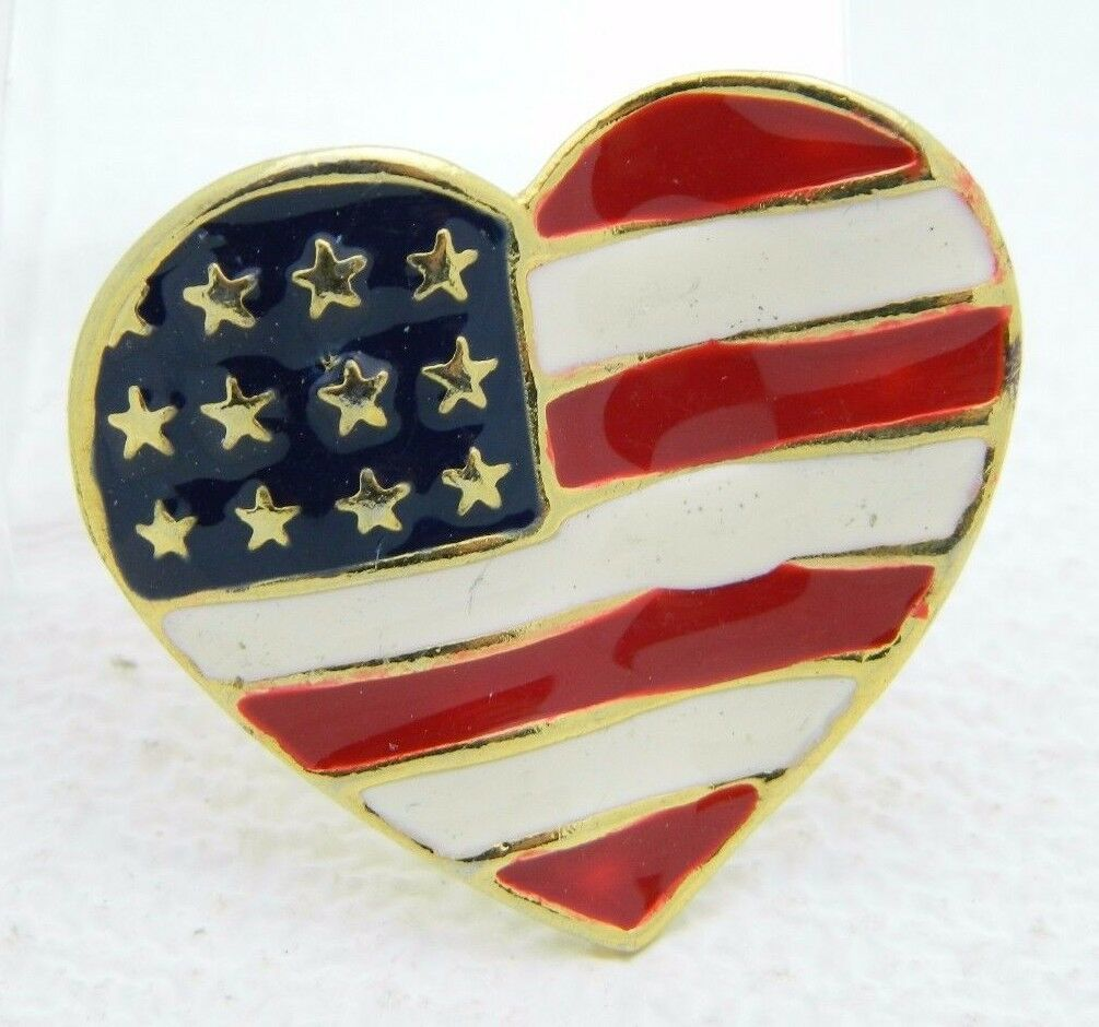 Primary image for Vintage Gold Tone Enamel Patriotic Heart 4th of July Large Pin Brooch