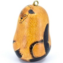 Handcrafted Carved Gourd Art Siamese Cat Kitten Kitty Ornament Handmade in Peru image 2