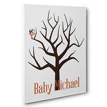 Monkey On Tree Baby Shower Thumbprint Guestbook CANVAS Wall Art - $34.65