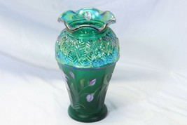 """Fenton Glass Vase Iridescent Green Hand Painted with Sticker 8.25"""" - $58.79"""