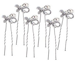 6 Pcs Hairpin Plate Hair Device U-shaped Clip Hairpin Bridal Headdress,White