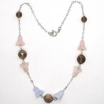 Collier en Argent 925, Clochettes, Fleurs, Cloches, Quartz Rose, Calcédoine image 1