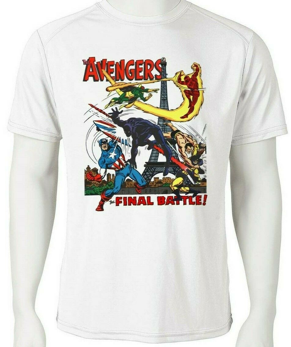 Avengers dri fit graphic tshirt moisture wicking spf retro comic book white tee