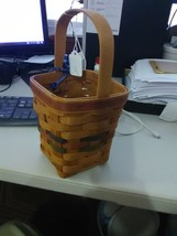 Longaberger Square Basket with Green, Brown and Blue Strips in middle - ... - $9.15