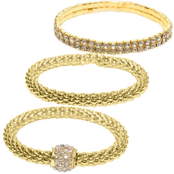 Primary image for Crystal Beaded Tri-Tone Stretch Rope Bracelet Set in Gold Tone Rose Gold Silver