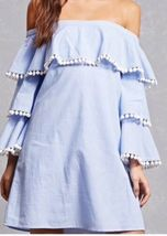 Forever 21 Blue & White Striped Tiered Ruffle Pom Pom Off The Shoulder Dress M image 3