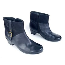"""CLARKS Women's size 8W Ankle Booties Boots 2"""" Heel Black Leather Buckle ... - $44.54"""