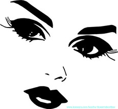 pretty lady eyes lips facial features printable art makeup clipart png d... - $3.99