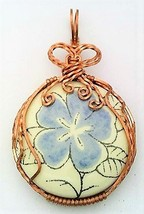 Blue Flower Porcelain Copper Wire Wrap Pendant 5 - $18.98