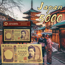 WR Japan 5000 Yen Gold Foil Banknote Fine Quality Colored Paper Money In... - $3.49