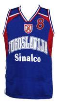 Stojakovic Jugoslavija Yugoslavia Basketball Jersey New Sewn Blue Any Size image 4