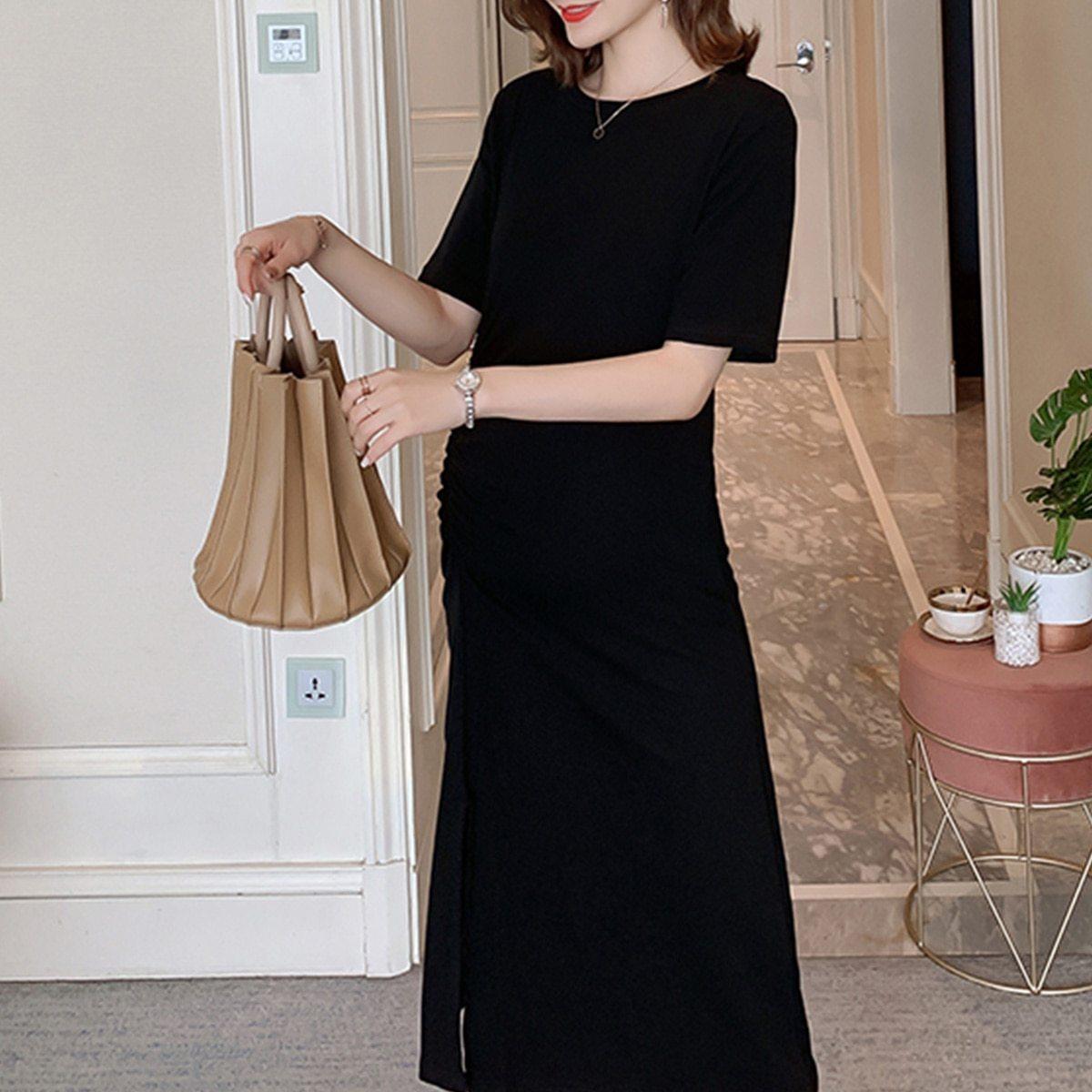 Maternity Dress O Neck Solid Color Split Mom Dress image 2