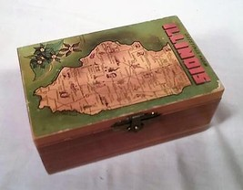 VINTAGE 1950s ILLINOIS STATE SOUVENIR CEDAR WOOD TRINKET BOX - $25.73