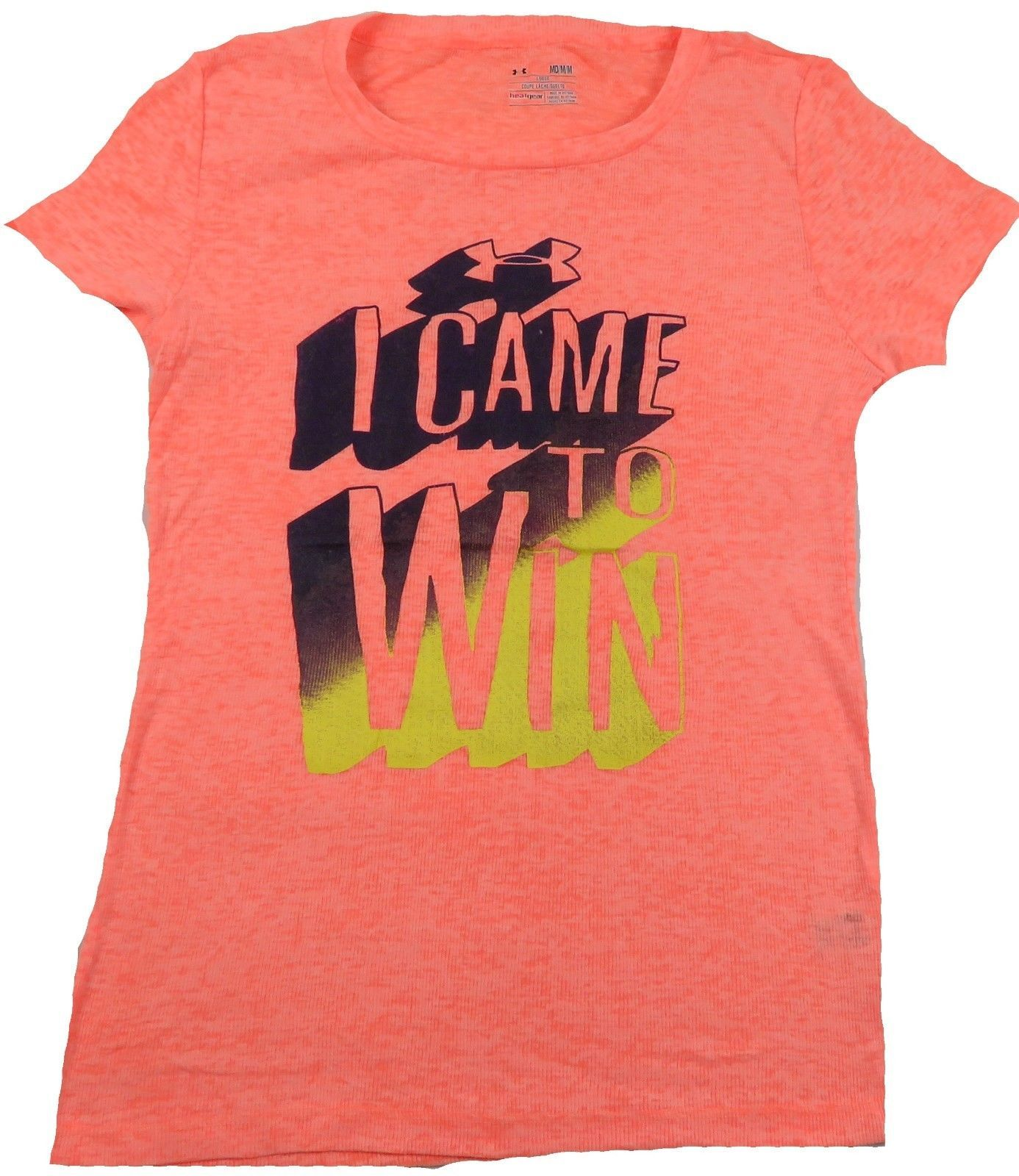 Women's Under Armour Shirt Loose Heat Gear Tee Orange Slub I Came To Win