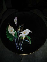 Vintage Elegant Black Porcelain Plate with White Flowers Gold Accents To... - $16.58