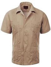 Guayabera Men's Cuban Beach Wedding Short Sleeve Button-Up Casual Dress Shirt (L